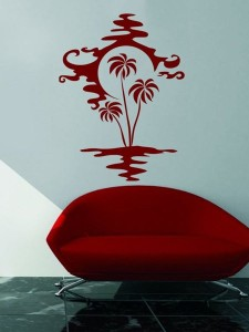 samolepka na zed palmy